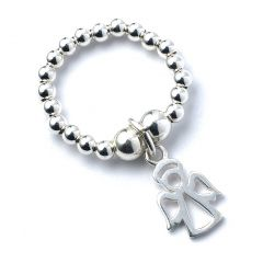 Sterling Silver Ball Bead Ring with Angel Charm