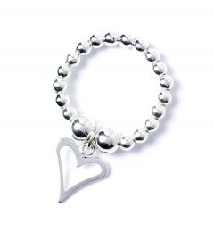 Sterling Silver Ball Bead Ring with Open Heart Charm