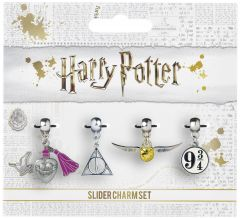 Harry Potter Golden Snitch/Deathly Hallows/Love Potion/Platform 9 3/4 Slider Charm Set HP0070