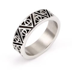 Official Harry Potter Stainless Steel Deathly Hallows Ring Large- SSR0054-L