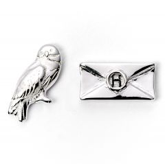 Official Harry Potter Hedwig & Letter Silver Plated Stud Earrings WES1746