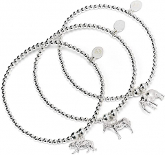 Sterling Silver Ball Bead Set of 3 Bracelets with Tiger, Zebra and Elephant Charms