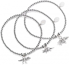 Sterling Silver Ball Bead Set of 3 Bracelets with T Rex, Triceratops and Stegosaurus Charms