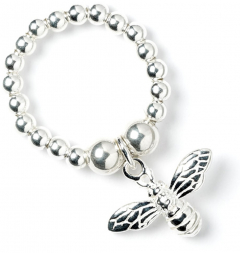 Sterling Silver Ball Bead Ring with Bumble Bee Charm