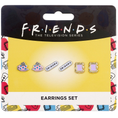 Official Friends Set of 3 Earring Studs; Frame, Coffee Cup, & Friends Logo FTE0014