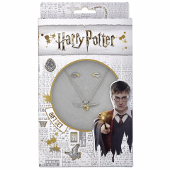 Harry Potter Golden Snitch Necklace and Stud Earring Set