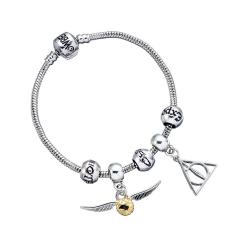 Harry Potter Charm Set- Silver Bracelet/Deathly Hallows/ Snitch/ 3 Spellbeads- HP0090