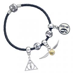 Harry Potter Charm Set- Black Leather Bracelet/Deathly Hallows/ Snitch/ Platfrom 9 3/4/ 2 Spellbeads- HP0091