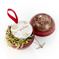 Official Harry Potter Hogwarts Crest with Golden Snitch Necklace Christmas Bauble HPCB0004
