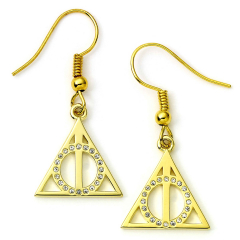 Official Harry Potter Deathly Hallows Gold Plated Sterling Silver Drop Earrings  HPGSE02