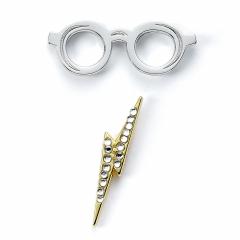 Official Harry Potter Glasses & Lightning Bolt Pin Badge HPPB0176