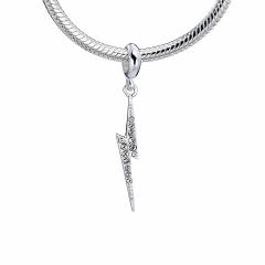 Harry Potter Sterling Silver lightning bolt slider charm with Crystal Elements HPSC001-SC