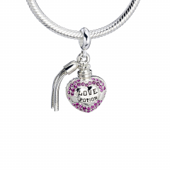 Sterling Silver Love Potion slider charm with Crystal Elements - HPSC053-SC