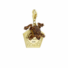 Official Harry Potter Sterling Silver Gold Plated Chocolate frog Clip on Charm with Crystal Elements HPSC157