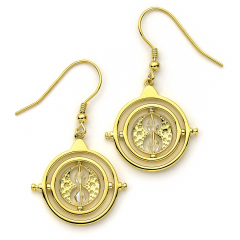 Official Harry Potter Time Turner Sterling Silver, Gold Plated Drop Earrings with Crystal Elements - HPSE021-G