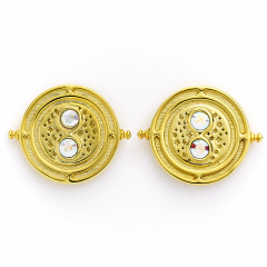Official Harry Potter Time Turner Sterling Silver, Gold Plated Stud Earrings with Crystal Elements