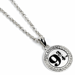 Official Harry Potter Sterling Silver Platform 9 3/4 Necklace Embellished with Crystals