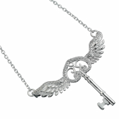 Harry Potter Embellished with Crystals Flying Key Necklace - HPSN055