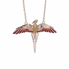 Official Harry Potter Sterling Silver Rose Gold Plated Fawkes The Phoenix Necklace with Crystals Elements