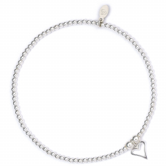 Sterling Silver Ball Bead Ankle Bracelet with Love Heart Charm
