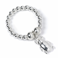 Sterling Silver Ball Bead Ring with Beetle Charm