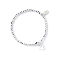 Sterling Silver Ball Bead Bracelet with Star Charm