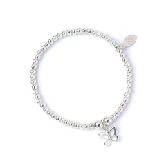 Sterling Silver Ball Bead Ankle Bracelet with Butterfly Charm