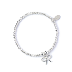 Sterling Silver Ball Bead Ankle Bracelet with Bow Charm