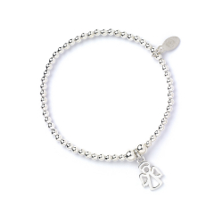 Sterling Silver Ball Bead Ankle Bracelet with Angel Charm