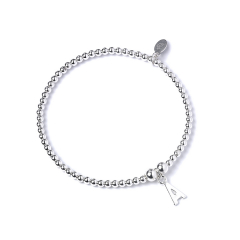 Sterling Silver Ball Bead Bracelet  with 'A' Initial - RB017