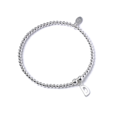 Sterling Silver Ball Bead Bracelet with 'D' Initial - RB017