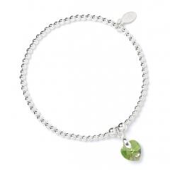 Sterling Silver Ball Bead Bracelet with Peridot Swarovski Crystal Heart