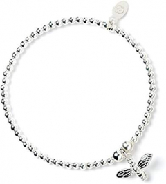 Sterling Silver Ball Bead Bracelet with Bumble Bee Charm