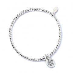 Sterling Silver Ball Bead Bracelet with Footprints Charm