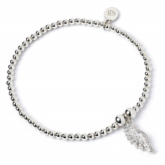 Sterling Silver Ball Bead Bracelet with Angel Wing Crystal Charm