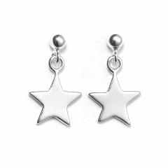 Sterling Silver Ball Bead Stud Drop Star Earrings