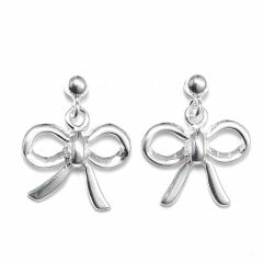 Sterling Silver Ball Bead Stud Drop Bow Earrings