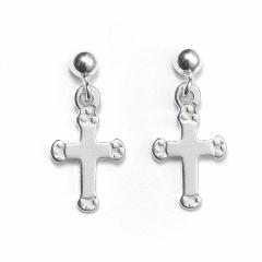 Sterling Silver Ball Bead Stud Drop Cross Earrings