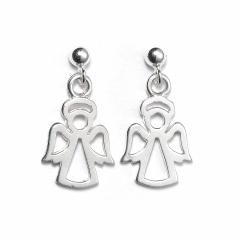 Sterling Silver Ball Bead Stud Drop Angel Earrings