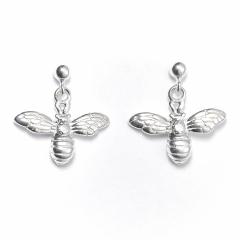 Sterling Silver Ball Bead Stud Drop Bumble Bee Earrings