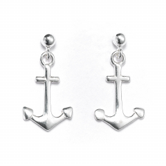 Sterling Silver Ball Bead Stud Drop Anchor Earrings