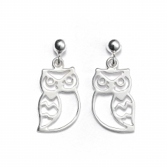 Sterling Silver Ball Bead Stud Drop Owl Earrings