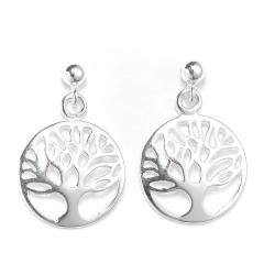 Sterling Silver Ball Bead Stud Drop Circle Tree of Life Earrings