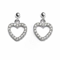 Sterling Silver Ball Bead Stud Drop Crystal Heart Earrings