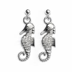 Sterling Silver Ball Bead Stud Drop Crystal Seahorse Earrings
