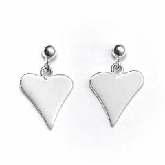 Sterling Silver Ball Bead Stud Drop Funky Heart Earrings