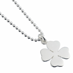 Sterling Silver Necklace with Four Leaf Clover Charm