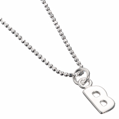 Sterling Silver Necklace with Initial B Charm