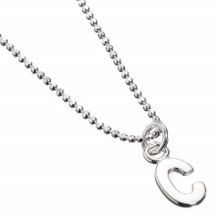 Sterling Silver Necklace with Initial C Charm