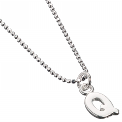 Sterling Silver Necklace with Initial Q Charm